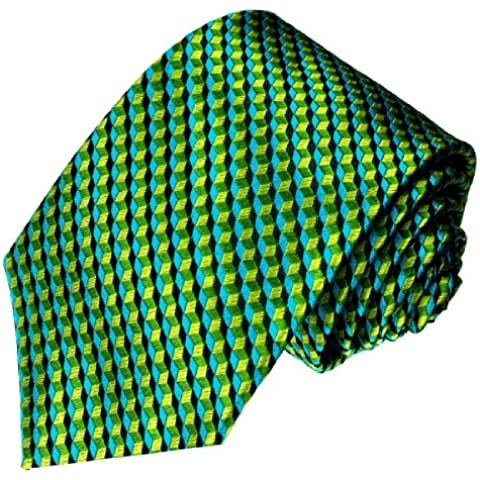 Lorenzo Cana - Corbata - Cuadrados - para hombre Verde turquesa