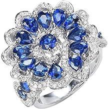 4.6 cttw Natural Blue Sapphire Promise Alianza Anillo de Compromiso, Anillo de Diamantes de Oro