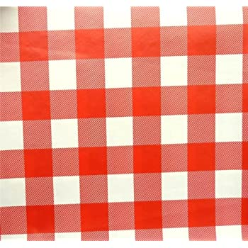 Red Gingham Square Check Pvc Oilcloth Vinyl Fabric Kitchen