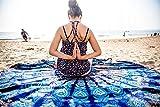 OCEANIC Aura Mandala rund Tapisserie Hippie indischen Mandala Beach Roundie Picknick Tisch Überwurf Hippie Bohemian Spread Boho Gypsy Baumwolle Tischdecke Strandtuch Meditation Runde Yoga Mat–182,9cm, blau