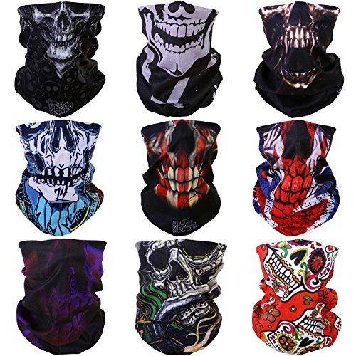 ACBungji 9 Stück Multifunktionstuch Gesichtsmaske Motorradmaske Sturmmaske Maske für Motorrad Ski Snowboard Snowboard Paintball Fahrrad Bergsteigen Trekking Skateboarden Angeln Geheimnisvoll Skull