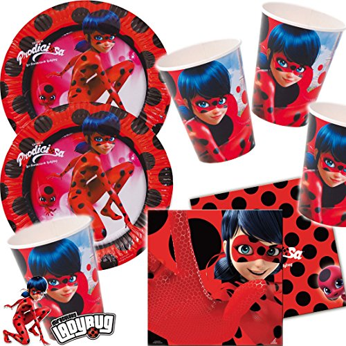 * LADYBUG * mit 16 Pappteller + 20 Servietten + 16 Becher + Deko für Kindergeburtstag oder Superheldinnen-Mottoparty // Marienkäfer Miraculous Lady Bug Motto Party ()