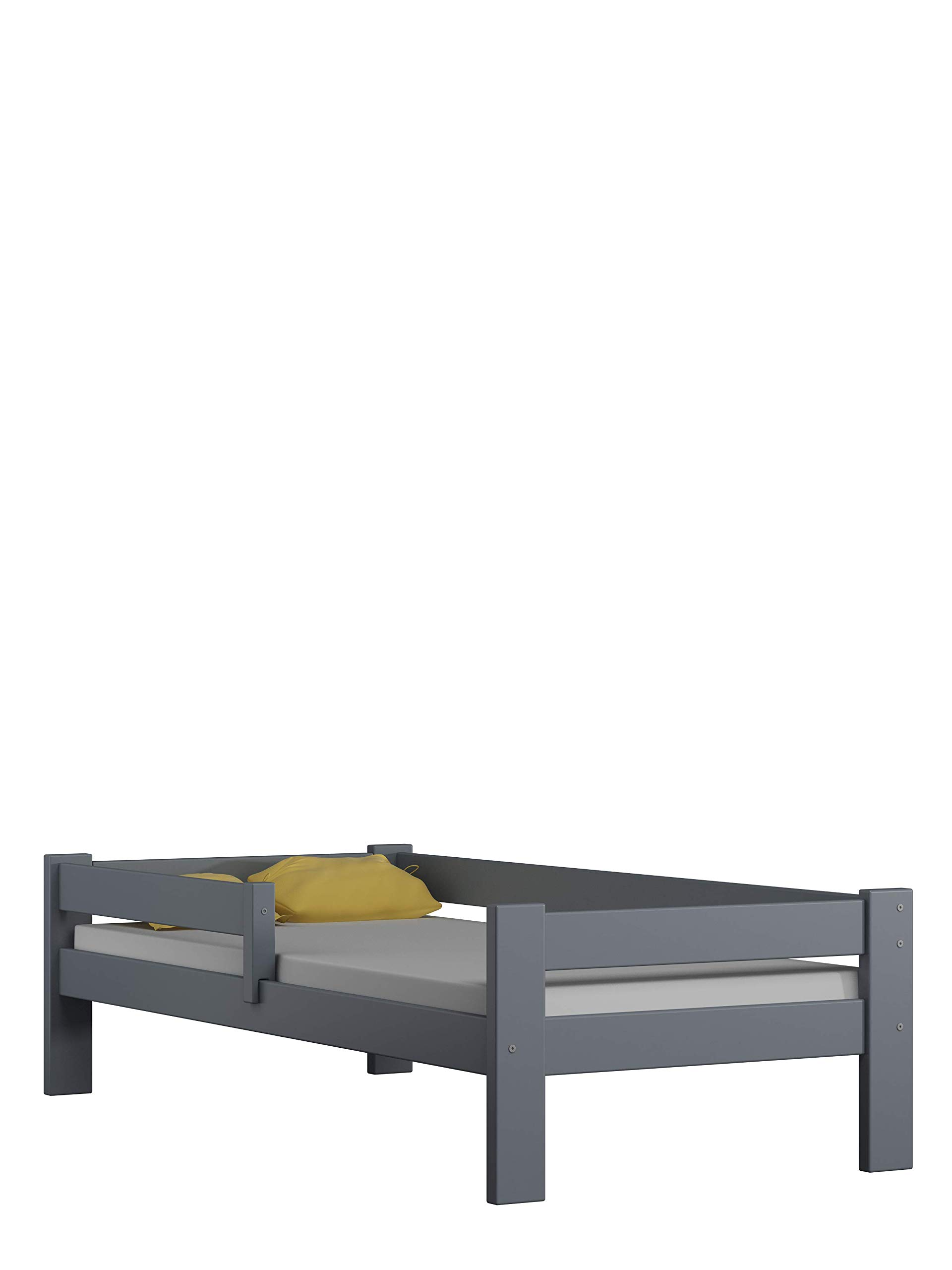 Children's Beds Home Solid Pine Wood Single Bed - Willow comes with Foam Mattress no Drawers Included (160x80, Grey) Children's Beds Home Internal Dimensions in cm's are 140x70, 160x80, 180x80, 180x90, 190x90, 200x90 (External: 147x78, 167x88, 187x88, 187x98, 197x98, 207x98) Total height up to the top of the safety barrier is 51cm Universal bed entrance - left or right side. Front barrier can also be removed at a later stage. Bed Frame has load capacity of up to 190kg 1