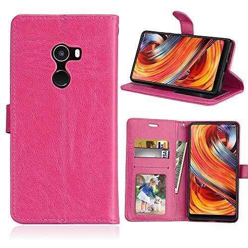 "Funda Xiaomi Mi Mix 2 Mix2/EVO 5.99"" Case,Bookstyle 3 Card Slot PU Cuero cartera para TPU Silicone Case Cover-Rosa Rojo"