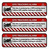 Finest-Folia 3X GPS Aufkleber Fahrrad Motorrad Auto Alarm Warnung Anti Diebstahl Sticker Tracker gesichert (Aluminium Schliff Silber, Motorrad)