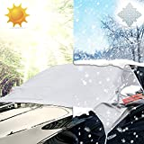Picture Of iZoeL Car Windscreen Cover Windshield Cover, Sunshade Ice and Frost Guard, Fits SUV Truck Car, With Side Wing Mirror Cover & Reflective Warning Bar & S-Hooks Cords