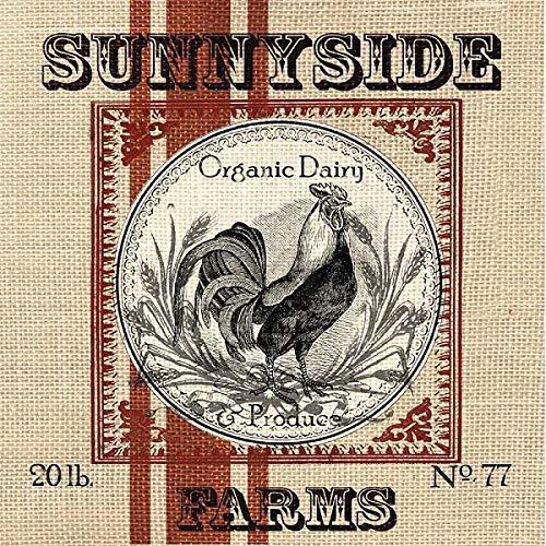 Rahmen-Kunst Keilrahmen-Bild - TRE Sorelle Studios: Organic Farm I Leinwandbild Hahn Bauernhof Tiere Vintage Shabby Chic Bauernhof Hahn
