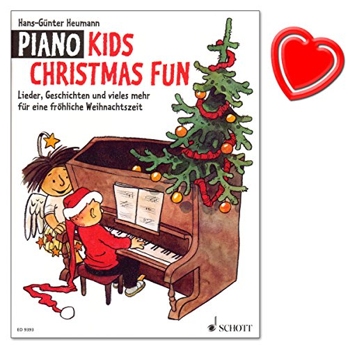 Piano Kids Christmas Fun - Lieder, Geschichten und vieles mehr für eine fröhliche Weihnachtszeit - eine Auswahl schöner alter und moderner Weihnachtslieder - mit bunter herzförmiger Notenklammer