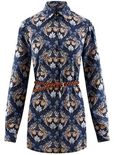 oodji Collection Damen Bedruckte Viskose-Tunika mit Gürtel Blau (7533E)