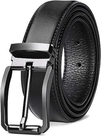 NEWHEY Mens Belt Leather Jeans Casual Formal Pin Buckle Adjustable Designer 32mm Wide 115cm 125cm Black Brown Red-Brown