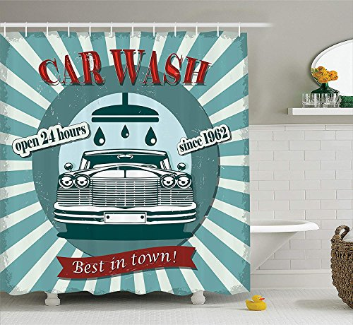 ower Curtain Set, Vintage Graphic Design for a Car Wash Sign Commercial with Aged Classic Retro Arsty Texture, Bathroom Accessories, 72x72 inches Extralong, Red Teal ()