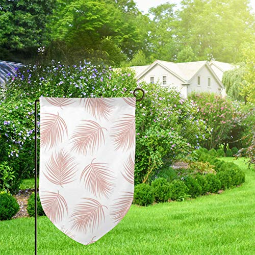 IconSymbol Garden Outdoor Flag Banner Palm Leaves Muted Dark Decorative Weather Resistant Double Stitched 18x12.5 Inch