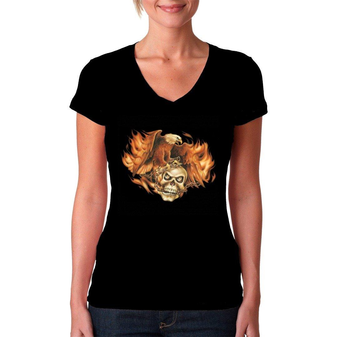 Biker Girlie V-Neck Shirt - Brennender Adler mit Totenkopf by Im-Shirt:  Amazon.de: Bekleidung