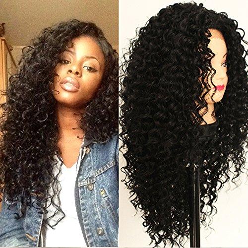 Platinumhair synthétique Lace Front Perruque Noir crépus frisés Perruque 10% de cheveux humains 90% résistant à la chaleur Fibre Perruques avec cheveux de bébé pour femme 66 cm