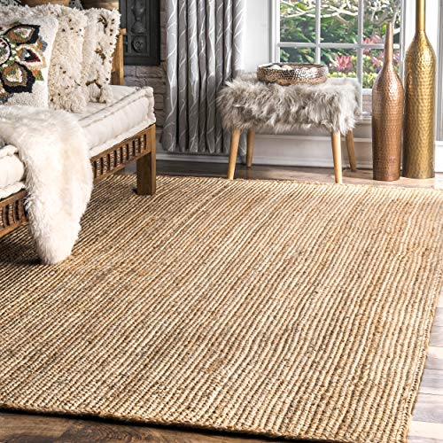 nuLOOM Rigo Teppich, handgewebt, groß Natürlich 4' x 6' Natur -