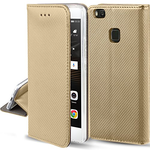 Moozy Hülle Flip Case für Huawei P9 Lite, Gold - Dünne Magnetische Klapphülle Handyhülle mit Standfunktion