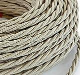 3 Mt Cavo elettrico Treccia Trecciato stile vintage rivestito in tessuto colorato Sabbia Grezzo sezione 3x0,75 per lampadari, lampade, abat jour, design. Made in Italy