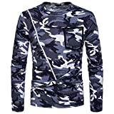 ZIYOU Herren Langarm Pullover mit Reißverschluss, Sport Fitness Slim fit Camouflage T-Shirts Lässig O-Ausschnitt Hemd Top Tee(L,Grau)