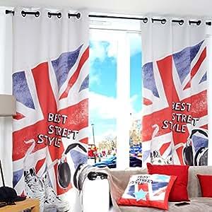Lovely Casa R67155001 Beststreet Rideau Polyester Bleu/Rouge 135 x 250 cm