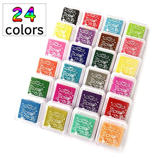 XiDe 24 Farben Stempelkissen Set, Süßigkeiten-Farbige Stempelkissen Fingerabdruck, Wasserlöslich Tinte Stampel Pads Tinte Pads für Hochzeit Scrapbooking Malerei Karte Geburtstags-Gastgeschenke