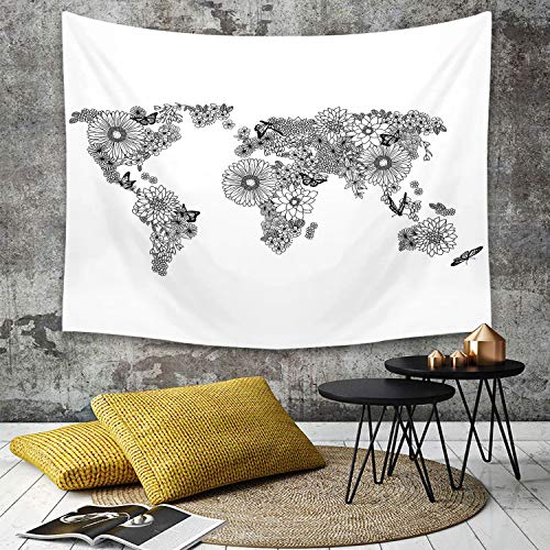Tapestry, Wall Hanging, Floral Weltkarte, Floral Planet Blütenblätter mit Schmetterlingen fliegen auf Kontinent,wall hanging wall decor, Bed Sheet, Comforter Picnic Beach Sheet home décor 150 x 200 cm