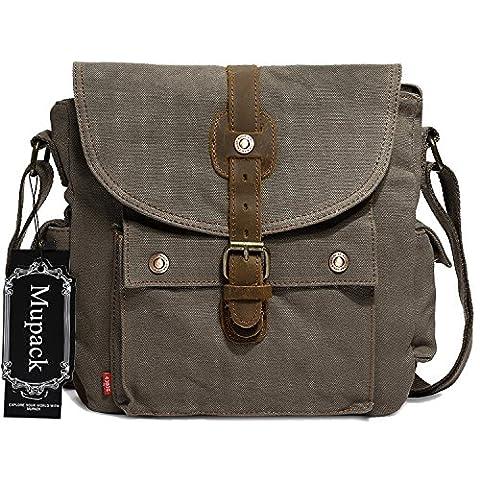 Portable Messenger Shoulder Bags Mupack Canvas Leather Travel Gym Women Men Cross-bag Satchel Army Green
