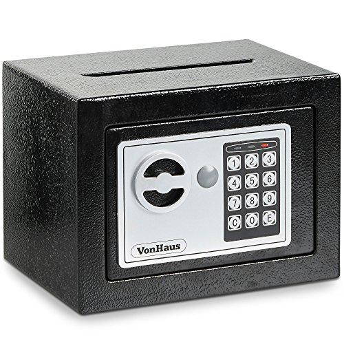 VonHaus Mini kompakter elektronischer digitaler Home Sicherheit fester Stahlsafe & Briefschlitz 2.85kg mit kostenloser 2-jähriger Gewährleistung (Mit Schloss Mini-tresor)