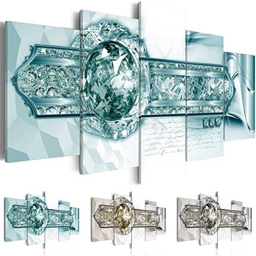 Quadro 200x100 cm ! Tre colori da scegliere - 5 Parti - Grande formato - Quadro su tela fliselina - Stampa in qualita fotografica -- Astrazione Gioielli a-A-0165-b-p 200x100 cm B&D XXL