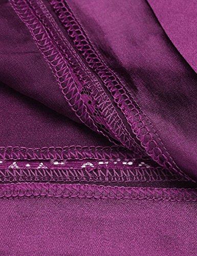 HOTOUCH Damen Morgenmantel Satin Kimono Bademantel Nachthemd Negligee Nachtwäsche Pyjama Set Seidenrobe Schlafanzüge Mit Blumenspitze Lila