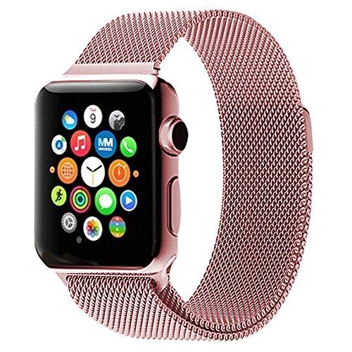 MMOBIEL Uhrenarmband (38 mm) Super Slim rostfreier Edelstahl Milanaise Armband Ersatz für Alle Apple Watch Serien (Rose Gold)