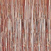 2 Pièces Or Rose Rideau Métallique de Frange, Frange de Feuille Rideau Shimmer Porte Fenêtre Décoration pour Fête de Mariage d'anniversaire