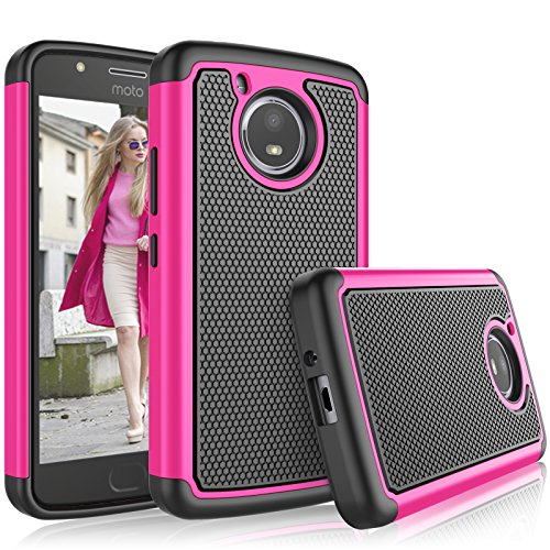 tekcoo Moto E4Plus Fall, tekcoo 2017Motorola Moto E Plus 4. Generation Fall für Mädchen, [tmajor], Gummi Silikon & Kunststoff Kratzfest Bumper Grip Hard Cases Cover, hot pink Hot Pink Hard Case