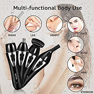 Painless Hair Removal for Women,WONNIE Lady Shaver 4 in 1 USB Rechargeable Waterproof,Ladies Electric Razor for Face, Arms, Legs, Underarms, Bikini Line Black