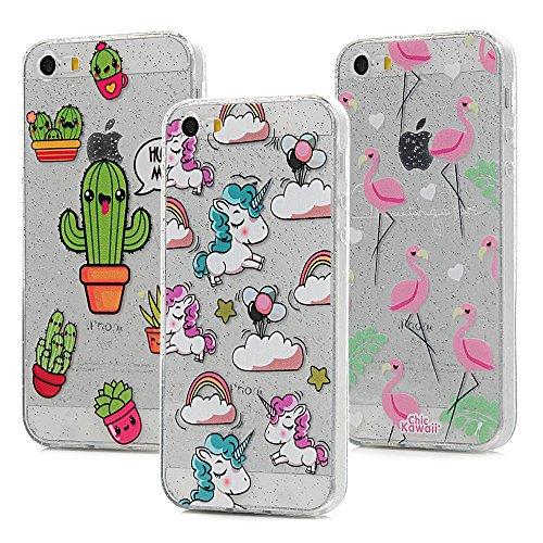 3x Cover iPhone 5S Silicone e Bling Glitter Brillanti, iPhone 5 SE Custodia Morbida TPU Flessibile Gomma - MAXFE.CO Case Ultra Sottile Cassa Protettiva per iPhone 5/5S/SE - Modello 3 Modello 1