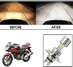 Vheelocityin Silver Missile Hi Low Beam H4 Bike Bulb Motorcycle LED Headlight Bulb For Honda Cbf Stunner