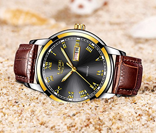 b6c62457e Mens Black Watches Waterproof 30M Date Calendar Wrist Watch for Men  Teenager Boys,Leather Band ...