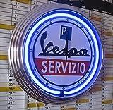 Neonuhr - VESPA SERVIZIO 1 -Neon Blau - Werkstatt Wanduhr