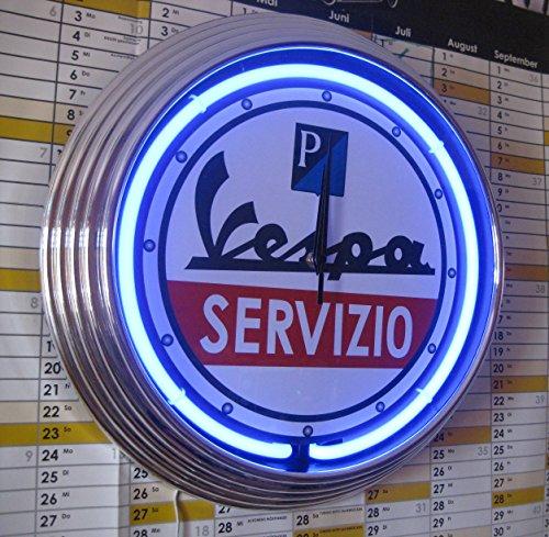 NEONUHR NEON CLOCK VESPA SERVIZIO 1 WANDUHR BELEUCHTET MIT BLAUEN NEON RING