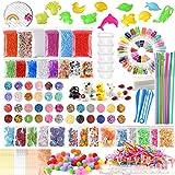 FEPITO 178 Pcs Slime Kit Accesorios incluyendo bolas espuma, bolas pecera, red, cubo esponja, modelo animal, confeti brillo, imitación hoja oro, papel azúcar, contenedores (no contienen limo)