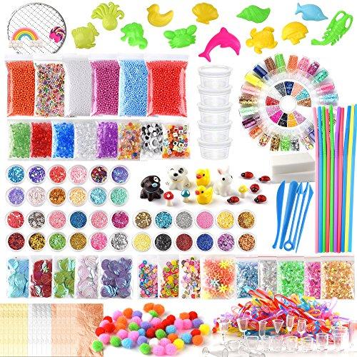Fepito 178 pcs slime kit compreso palle schiuma, perle acquamarina, netto, cubo spugna, modello animale, glitter confetti, foglia d'oro imitazione, carta zucchero, contenitore (non contiene melma)