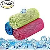 KACOOL Unisex Sports Microfiber Cooling Towel for Instant Cool Relief, Chilling Neck Wrap, Ice Cold Scarf for Outdoor Work, Fitness - Pack of 3