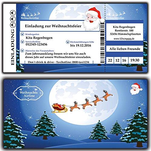 ladung zur Weihnachtsfeier Weihnachtskarten Weihnachtsessen für Firmen, Vereine, Kita, Kindergarten, Grunschschule, Schule Weihnachten - 60 Stück Karten lustig witzig Firma geschäftlich Business Firmen geschäftlich unternehmen edel elegant ()