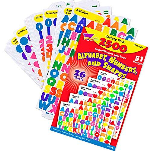 German Trendseller® - 2500 x Sticker ┃ Buchstaben + Zahlen + Formen ┃ - XXL SET - ┃ Einschulung ┃ Sticker Set für Kinder