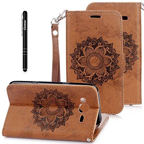 Slynmax Mandala Tasche Schutzhülle für Samsung Galaxy J3 (2016 Edition) Hülle Kunstleder Flip...