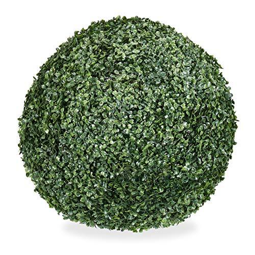 Relaxdays Buchsbaum künstlich, runde Dekopflanze, Buchsbaumkugel, Buchskugel Kunststoff, wetterfest, Kugel 48 cm Ø, grün