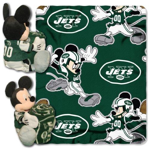 NFL Mickey Mouse Kissen mit Fleece Überwurf Decke Set, Unisex, New York Jets