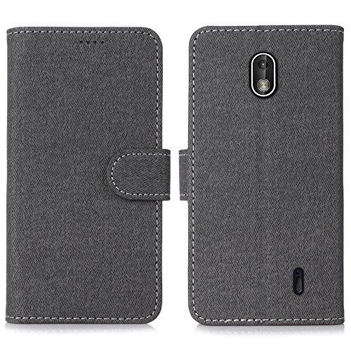 DDJ Nokia 1 Hülle,PU Leder Tasche Flip Klappbares Case Cover Standfunktion Kartenfach Magnetverschluß TPU Stoßstange Wallet Schutzhülle Handyhülle für Nokia 1 (Grau)