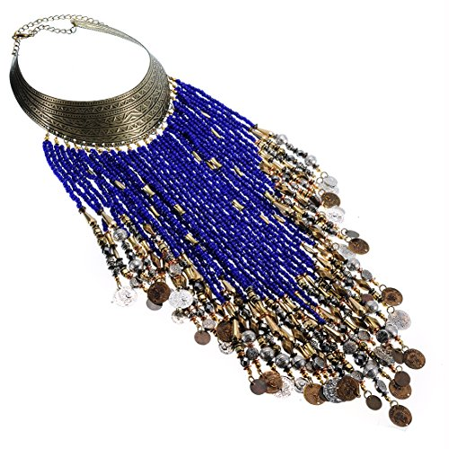 Jerollin Dame Halskette Vintage Kette Bib Collier Necklace mit Harz Perlen Statement Ketten Blau Choker Anhänger Kette (Free Bib Short)