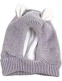 b010a48b3e47 BOZEVON Bébé Bonnet Hiver Chaud 3D Cartoon Oreilles en Laine - Chapeau  Crochet Tricot Protection Oreille