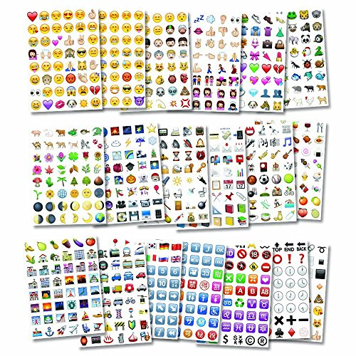German Trendseller® – Emoji Sticker – XXL Set┃ 960 Aufkleber ┃ Emoticons┃ Icon ┃ Facebook ┃ Instagram ┃ Twitter ┃ 960 Sticker